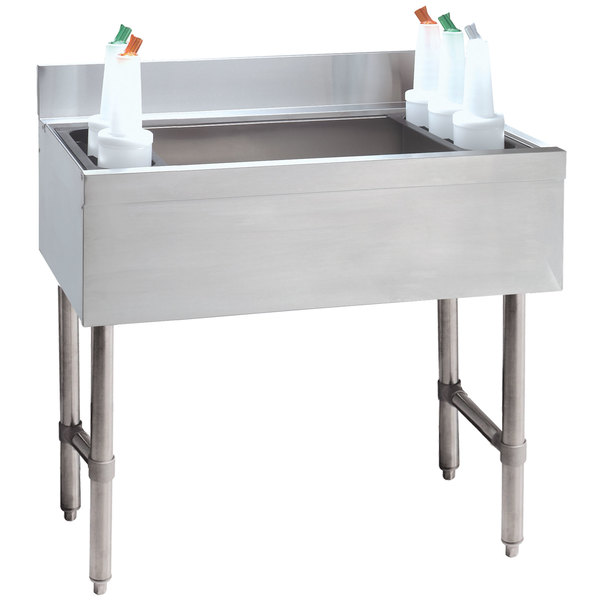 """Advance Tabco CRI-16-36-10 Stainless Steel Underbar Ice Bin with 10-Circuit Cold Plate - 36"""" x 21"""" Main Image 1"""