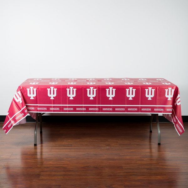 """Creative Converting 724924 54"""" x 108"""" Indiana University Plastic Table Cover - 12/Case Main Image 3"""