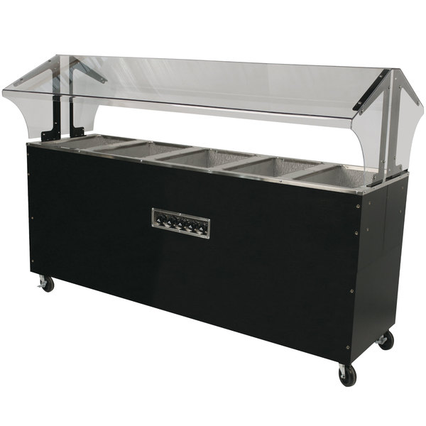 Advance Tabco B5-240-B-S-SB Enclosed Base Everyday Buffet Stainless Steel Five Pan Electric Hot Food Table with Stainless Steel Liners - Open Well - 208/240V Main Image 1