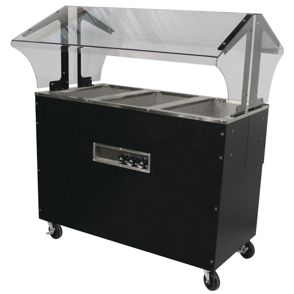 Advance Tabco B3-240-B-S-SB Enclosed Base Everyday Buffet Stainless Steel Three Pan Electric Hot Food Table with Stainless Steel Liners - Open Well - 208/240V Main Image 1