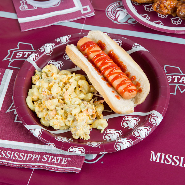 "Creative Converting 424094 9"" Mississippi State University Paper Plate - 96/Case"
