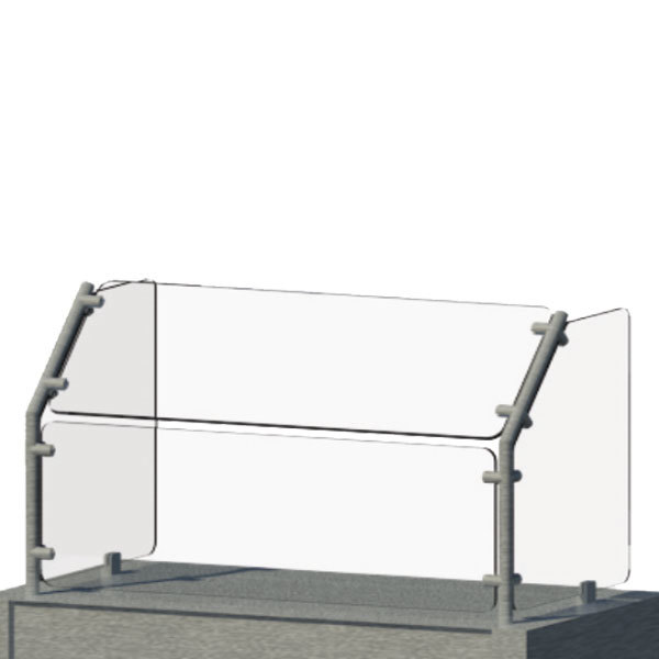 """Advance Tabco AFC-60 Angled Single Tier Cafeteria Food Shield - 61"""" x 18"""" x 23 3/8"""""""