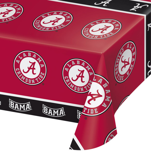 """Creative Converting 720697 54"""" x 108"""" University of Alabama Plastic Table Cover - 12/Case"""