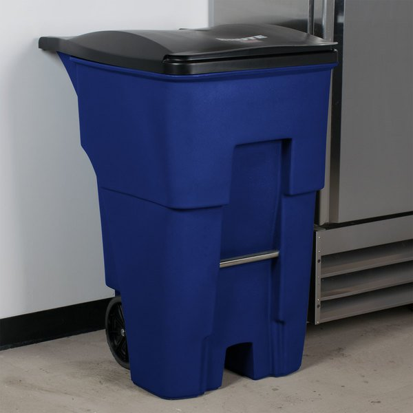 Rubbermaid FG9W2273BLUE Brute 95 Gallon Blue Rollout Trash Container with Lid Main Image 11