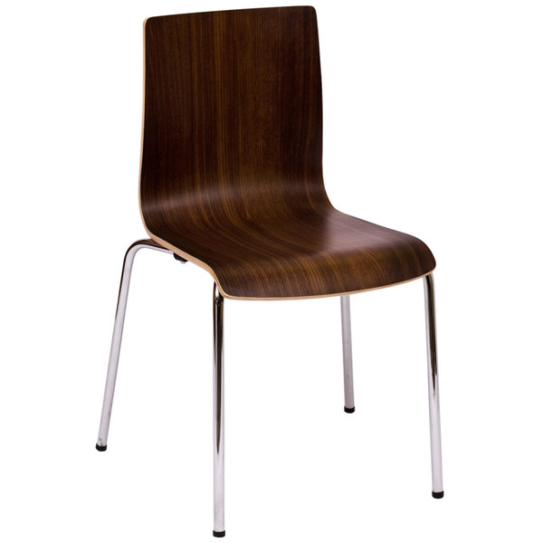 BFM Seating JA601CH-WL Rita Chrome Metal Stacking Side Chair with Walnut II Back and Seat Main Image 1