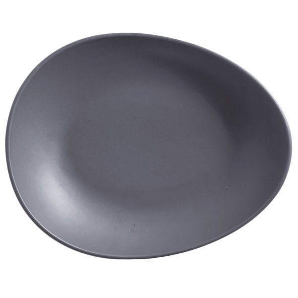 "World Tableware DRI-8-G Driftstone 13 3/4"" x 10 1/8"" Granite Satin Matte Organic Porcelain Coupe Plate - 12/Case"