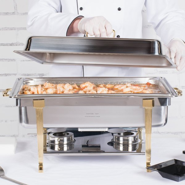Vollrath 46040 9 Qt. Classic Brass Trim Chafer Full Size Electric 120V-Receptacle on Long Side