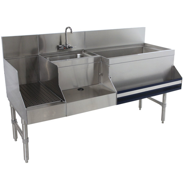 """Advance Tabco PRU-24-48R-10 Prestige Series Stainless Steel Uni-Serv Speed Bar with 10-Circuit Cold Plate - 48"""" x 30"""" (Right Side Ice Bin)"""