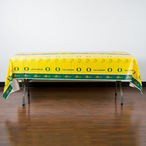 "Creative Converting 724907 54"" x 108"" University of Oregon Plastic Table Cover - 12/Case"