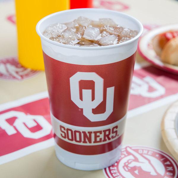 Creative Converting 014844 20 oz. University of Oklahoma Plastic Cup - 96/Case Main Image 2