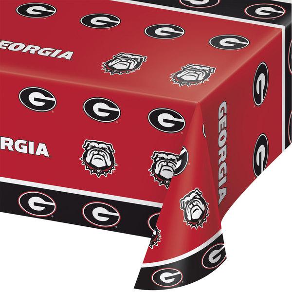 "Creative Converting 724699 54"" x 108"" University of Georgia Plastic Table Cover - 12/Case"