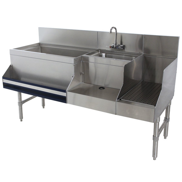 "Advance Tabco PRU-24-48L-10 Prestige Series Stainless Steel Uni-Serv Speed Bar with 10-Circuit Cold Plate - 48"" x 30"" (Left Side Ice Bin)"