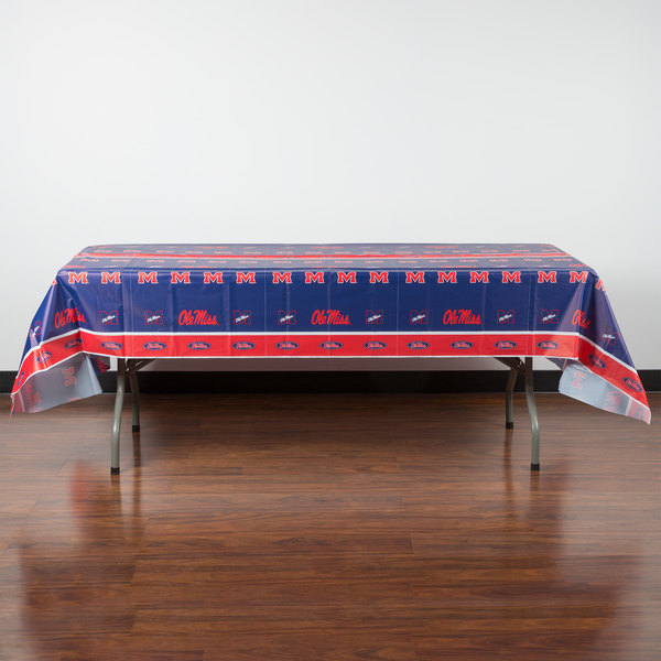 """Creative Converting 724893 54"""" x 108"""" University of Mississippi Plastic Table Cover - 12/Case"""