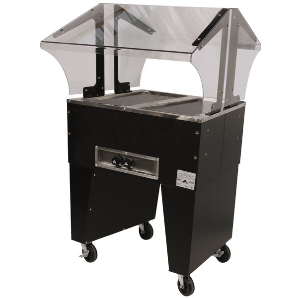 Advance Tabco B2-240-B-S Open Base Everyday Buffet Stainless Steel Two Pan Electric Hot Food Table with Stainless Steel Liners - Open Well - 208/240V Main Image 1