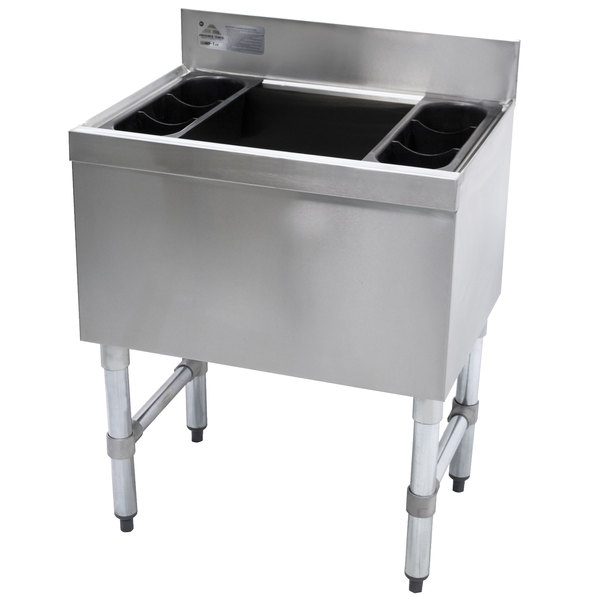 """Advance Tabco SLI-12-48-10 Stainless Steel Underbar Ice Bin with 10-Circuit Cold Plate - 48"""" x 18"""" Main Image 1"""