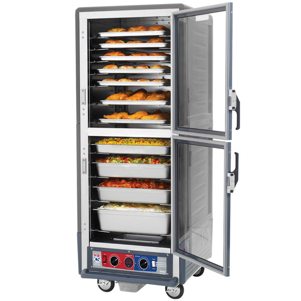 Metro C539-CDC-U-GY C5 3 Series Heated Holding and Proofing Cabinet with Clear Dutch Doors - Gray