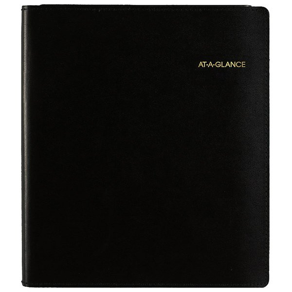 """At-A-Glance 70120P05 6 7/8"""" x 8 3/4"""" Black January 2020 - December 2020 Monthly Planner with Writing Pad"""