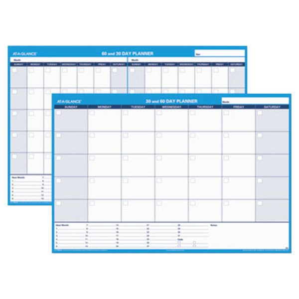 """At-A-Glance PM33328 48"""" x 32"""" White/Blue 30 / 60 Day Undated Horizontal Erasable Wall Planner Main Image 1"""