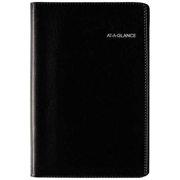 """At-A-Glance G23500 DayMinder 3 3/4"""" x 6"""" Black January 2020 - December 2020 Refillable Weekly Pocket Appointment Book"""