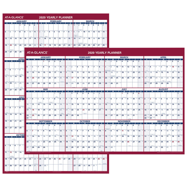 """At-A-Glance PM32628 32"""" x 48"""" Blue / Red Vertical / Horizontal Erasable January 2019 - December 2019 Wall Planner"""