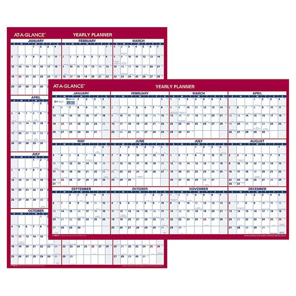 """At-A-Glance PM21228 24"""" x 36"""" Blue / Red Reversible Vertical / Horizontal Yearly January 2020 - December 2020 Wall Calendar"""