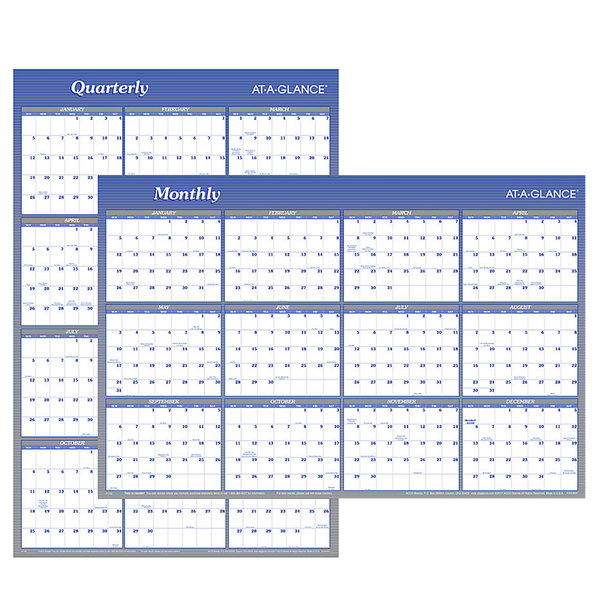 "At-A-Glance A1102 24"" x 36"" Blue / White Reversible Vertical / Horizontal Erasable January 2020 - December 2020 Wall Planner"