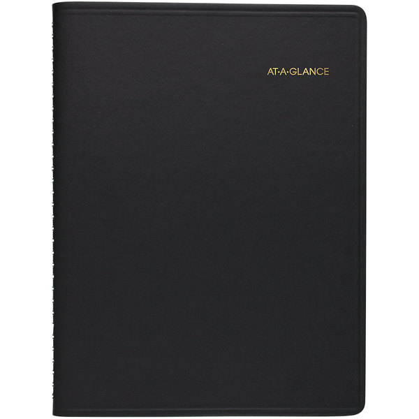 "At-A-Glance 7085505 6 3/4"" x 8 3/4"" Black January 2020 - December 2020 Open Scheduling Weekly Planner"