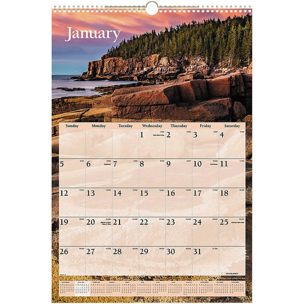 """At-A-Glance DMW20128 15 1/2"""" x 22 3/4"""" Scenic Monthly January 2020 - December 2020 Wirebound Wall Calendar"""