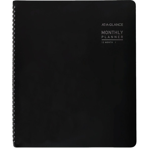 "At-A-Glance 70260X05 8 7/8"" x 11"" Black January 2020 - December 2020 Contemporary Monthly Planner"
