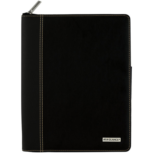 """At-A-Glance 70NX8105 8 1/4"""" x 10 7/8"""" Black January 2020 - December 2020 Columnar Executive Weekly / Monthly Zipper Appointment Book"""