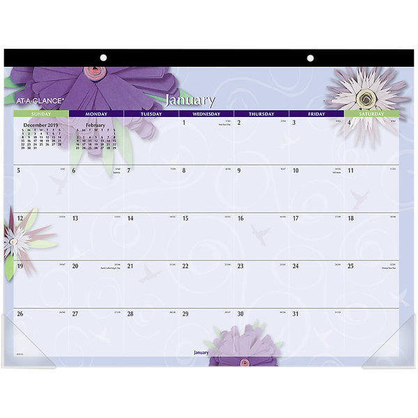 """At-A-Glance 5035 22"""" x 17"""" Paper Flowers Monthly January 2020 - December 2020 Desk Pad Calendar"""