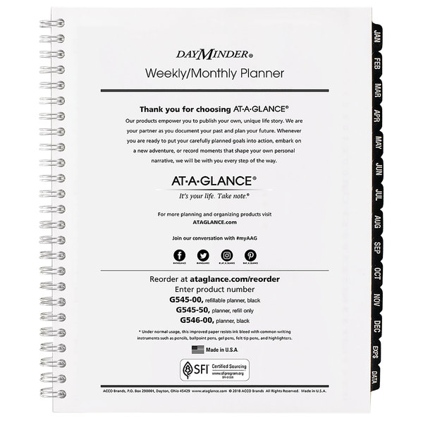 """At-A-Glance G54550 6 7/8"""" x 8 3/4"""" Executive Weekly / Monthly 2020 Appointment Book Refill"""