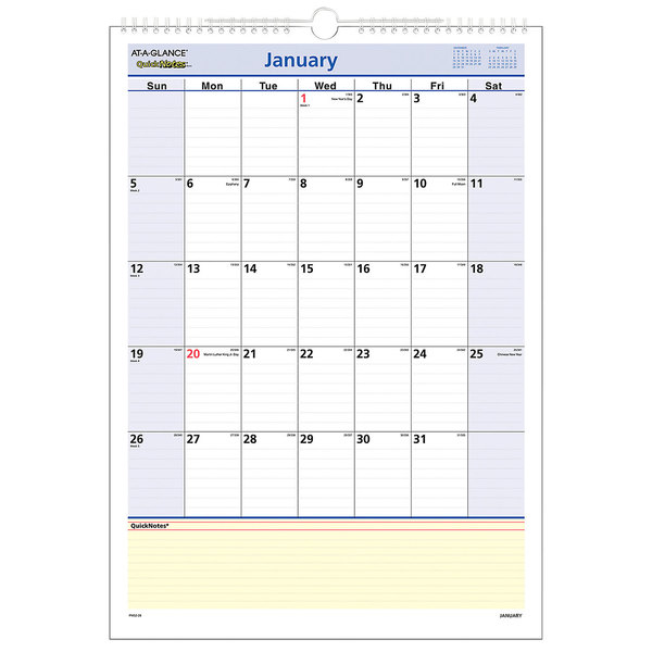 """At-A-Glance PM5228 QuickNotes 12"""" x 17"""" Monthly January 2020 - December 2020 Wall Calendar"""