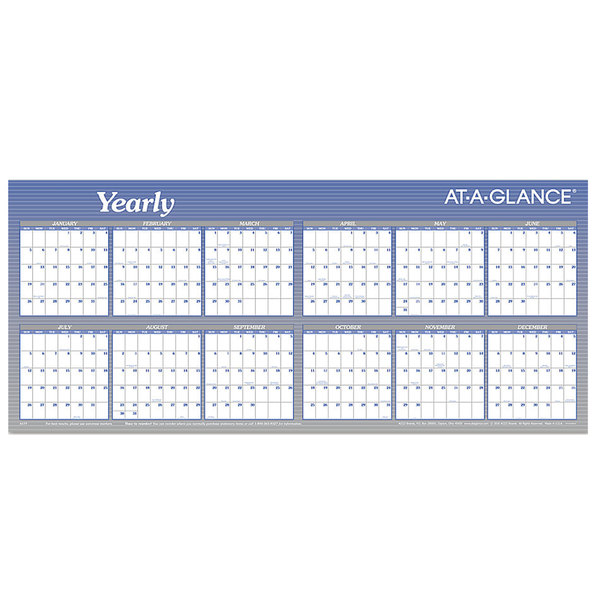 "At-A-Glance A177 60"" x 26"" Blue / White Reversible Block / Linear Erasable January 2020 - December 2020 Wall Planner"