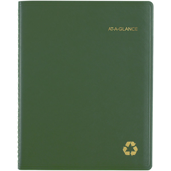 """At-A-Glance 70950G60 8 1/4"""" x 10 7/8"""" Green January 2020 - December 2020 Classic Weekly / Monthly Appointment Book"""