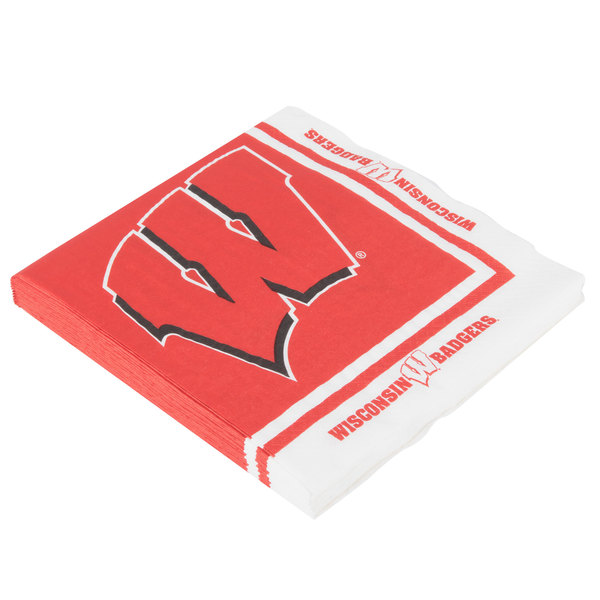 Creative Converting 664858 University Of Wisconsin 2 Ply 1 4 Fold Luncheon Napkin 240 Case