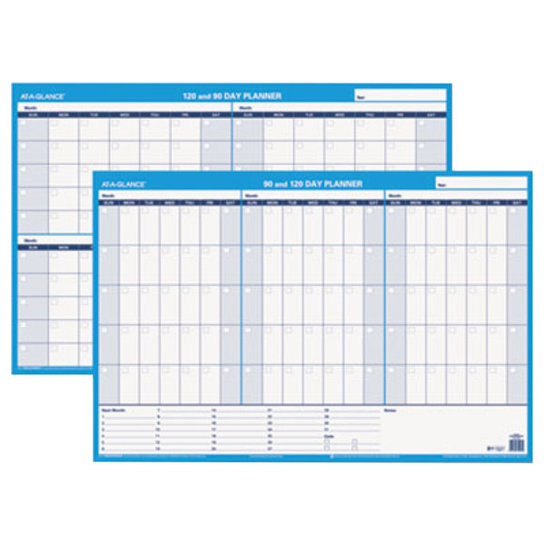 """At-A-Glance PM23928 36"""" x 24"""" White/Blue 90 / 120 Day Undated Horizontal Erasable Wall Planner"""
