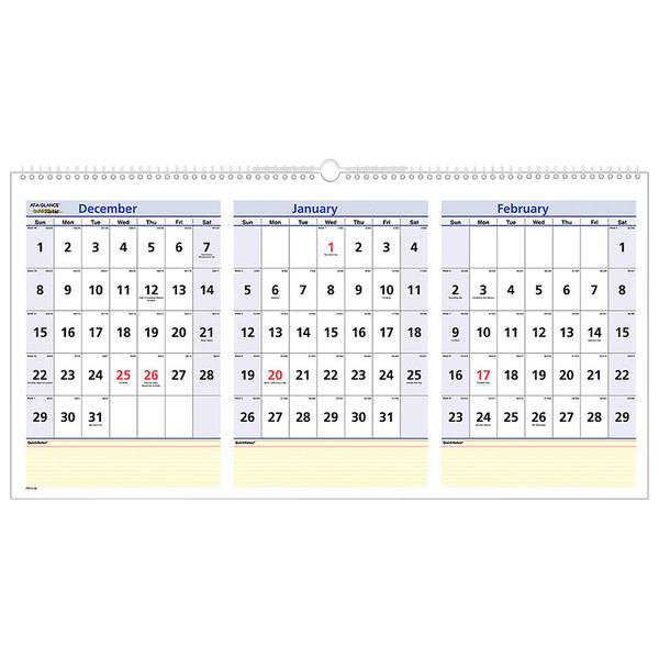"""At-A-Glance PM1528 QuickNotes 23 1/2"""" x 12"""" Horizontal 3-Month Reference December 2019 - February 2021 Wirebound Wall Calendar"""