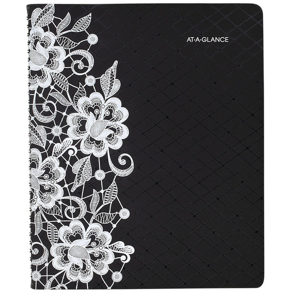 "At-A-Glance 541905 Lacey 9 1/4"" x 11 3/8"" Black/White January 2020 - January 2021 Professional Weekly / Monthly Appointment Book"