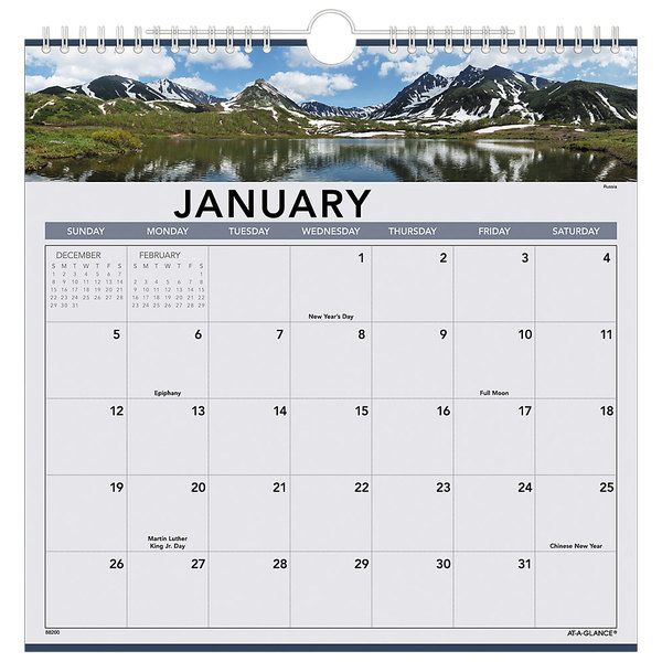 """At-A-Glance 88200 12"""" x 12"""" Landscape Monthly January 2020 - December 2020 Wall Calendar"""