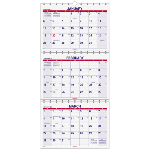 "At-A-Glance PMLF1128 Move-A-Page 12"" x 26 1/2"" December 2018 - February 2020 Three-Month Wall Calendar"