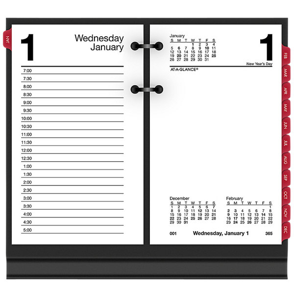 """At-A-Glance E717T50 3 1/2"""" x 6"""" 2020 Desk Calendar Refill with Tabs"""