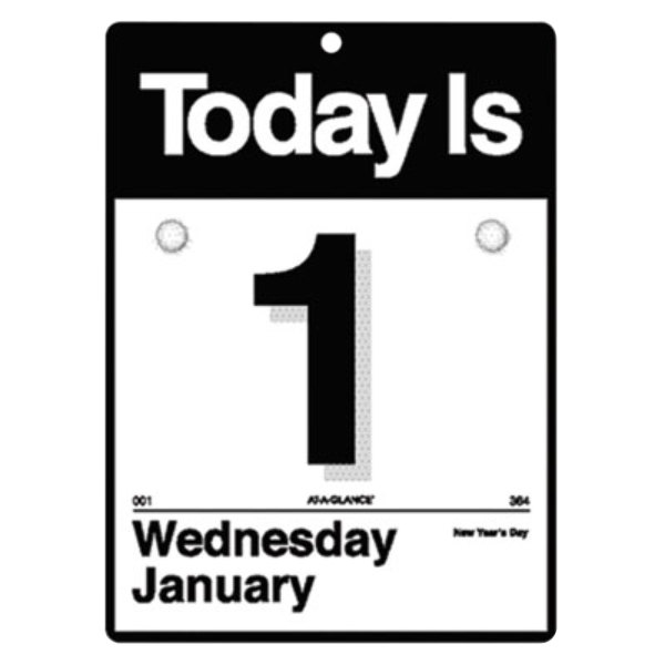 """At-A-Glance K100 6 5/8"""" x 9 1/8"""" """"Today Is"""" Daily January 2020 - December 2020 Wall Calendar"""