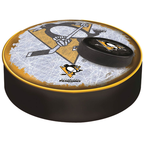 "Holland Bar Stool BSCPitPen-D2 14 1/2"" Pittsburgh Penguins Vinyl Bar Stool Seat Cover"