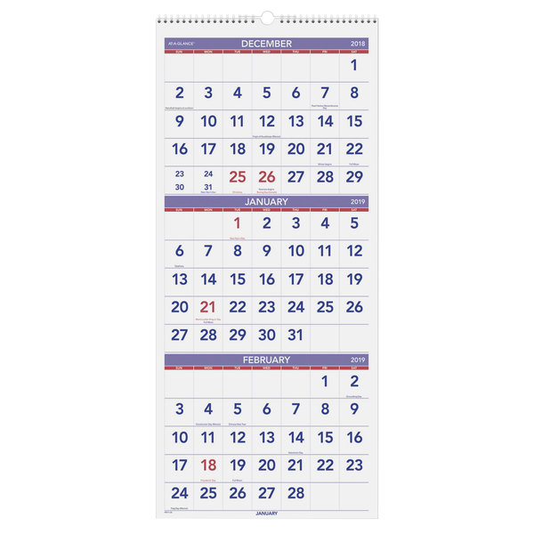 Calendar December 2019 January 2020.At A Glance Pm1128 12 X 27 Vertical 3 Month Reference December 2018 January 2020 Wirebound Wall Calendar