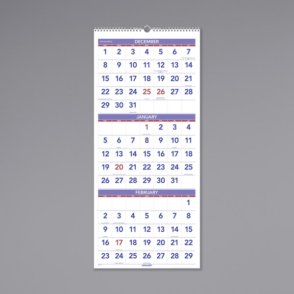 """At-A-Glance PM1128 12"""" x 27"""" Vertical 3-Month Reference December 2019 - January 2021 Wirebound Wall Calendar"""