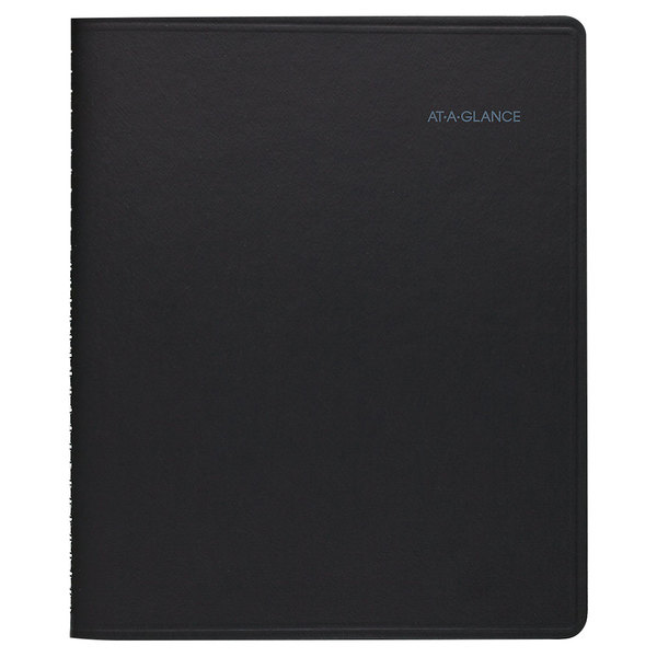 """At-A-Glance 760105 8"""" x 9 7/8"""" Black January 2020 - December 2020 QuickNotes Weekly / Monthly Appointment Book"""