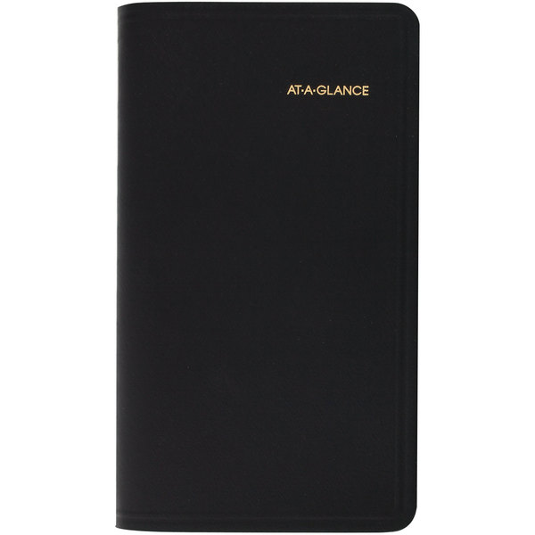 """At-A-Glance 7006405 3 1/2"""" x 6 1/8"""" Black January 2020 - January 2021 Refillable Pocket Size Monthly Planner"""