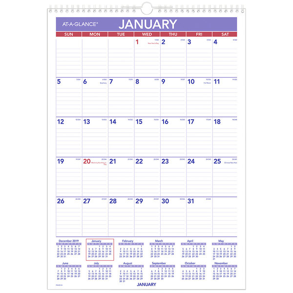 """At-A-Glance PMLM0228 12"""" x 17"""" Erasable Monthly January 2021 - December 2021 Wall Calendar Main Image 1"""