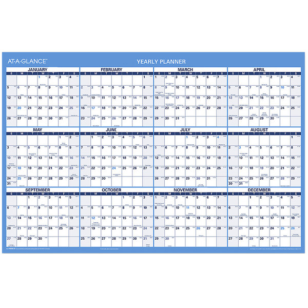 """At-A-Glance PM200S28 24"""" x 36"""" Blue / Red Yearly Reversible Horizontal Erasable July 2019 - June 2021, January 2020 - December 2020 Wall Calendar"""